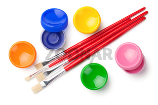Gouache Paints with Paint Brushes Isolated on White Background