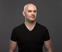 bald man in a T-shirt