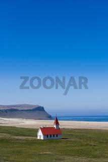 Church at Breidavik with blue sky, Iceland