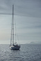 Yacht at Cala Saona in Formentera. Balearic Islands. Spain