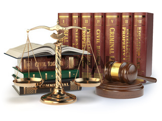Gold scales of justice, gavel and books with differents field of law isolated on white background. Justice concept.