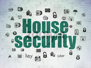 Protection concept: House Security on Digital Data Paper background