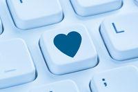 Partner Liebe Internet online Dating Partnervermittlung Herz blau Computer Tastatur