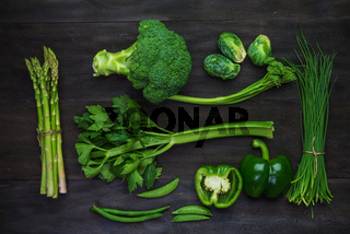 Fresh green organic vegetables