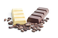 Dark and white chocolate bar and cocoa beans.