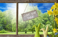 Window, Easter Bunny, Save The Date