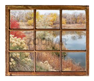 lake at late fall - window view
