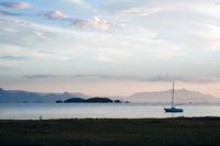 Beautiful sunset in the bay of portuguese colonial town of Paraty in Rio de Janeiro state, Brazil