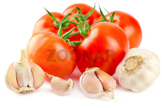 Fresh ripe tomatoes and garlic