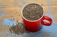black chia seeds in a coffee cup