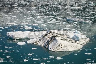 Big Iceberg Floating in Close Hubbard Glacier in Alaska