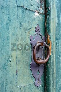 Old wooden church door closed