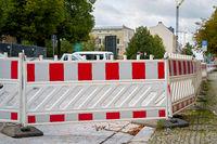 Absperrung an einer Baustelle in Magdeburg