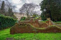 Remains of walls in Domus Aurea in Rome