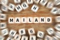 Mailand Stadt Italien Reise Reisen Würfel Business Konzept