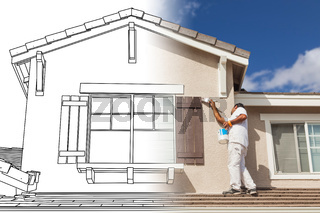 Split Screen of Drawing and Photo of House Painter Painting Home