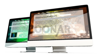 All in one Computer showing generic websites