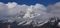 Peak of mount Ama Dablam. Mountain popular for climbing, Nepal.