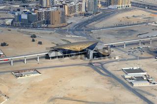 Dubai Al Jadaf Metro Haltestelle Luftaufnahme Luftbild