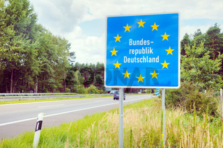 Germany border road sign