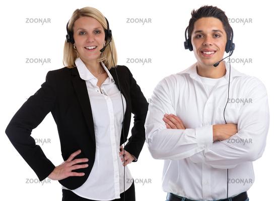 Call Center Agent Team lachen Sekretärin Headset Telefon Business Freisteller