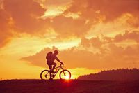 Sunrise with biker