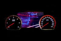Modern light car mileage on black background Futuristic