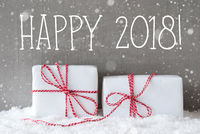 Two Gifts With Snowflakes, Text Happy 2018