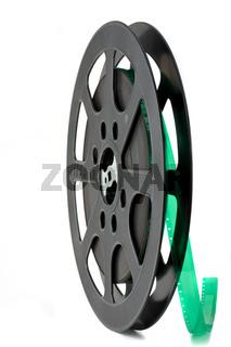 schwarze Schmalfilmrolle isoliert auf Weiß