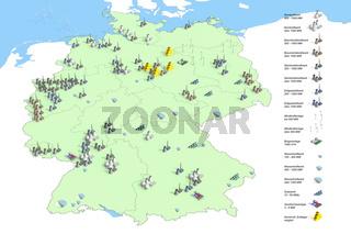 Standorte Kraftwerke in Deutschland im Jahr 2011, Quelle: Bundesumweltamt 2011, standortgenaue Darstellung der Energieerzeugung in Deutschland im Jahr 2011 entsprechend der Legendendarstellung