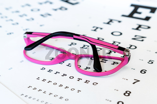 Pink glasses on a eye exam chart