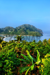 View of Phi Phi Don Island from an overlook, Krabi Province, Thailand.