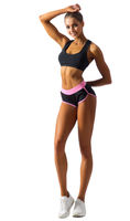 Young fitness girl isolated on white