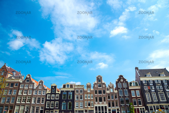 City view of Amsterdam, typical dutch houses, Holland, Netherlands.