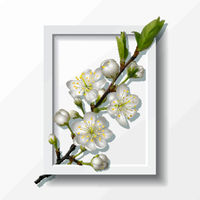 Branch of white cherry flowers in paper frame