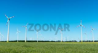 Windräder in einem Getreidefeld in Deutschland