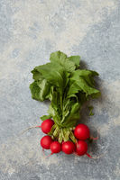 Radish with green leaves