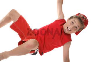 Active boy closeup
