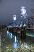 Lighted Pedestrian Bridge Crossing Willamette River Converted Train Trestle