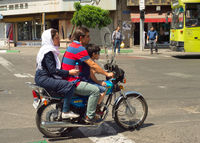 Family motorcycle Tehran road Iran