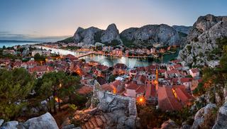 Aerial View of Omis Old Town and Cetina River Gorge, Dalmatia, Croatia