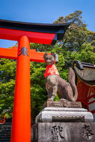 Fox statue at Fushimi Inari Taisha, Kyoto, Japan