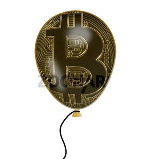 Illustration of bitcoin price bubble using balloon