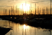 Silhouette of a vessels in the port of Torrevieja during the sunset. Costa Blanca. Spain