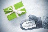 Green Gift, Glove, Text Happy Thanksgiving, Snowflakes