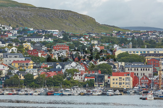 Torshavn, Capital of Faroe Islands with its downtown area and port in bay