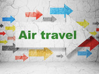 Tourism concept: arrow with Air Travel on grunge wall background