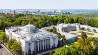 Kyiv city skyline with Rada Building in spring