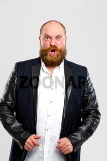 Screaming man with ginger beard