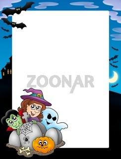 Halloween frame 5 on white background - color illustration.